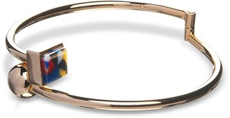 Arlequin Golden Brass Thin Bangle w/Multicolor Stone
