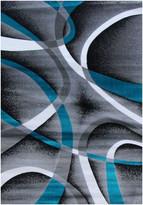 "BEIGE Persian Rugs Modern 2305, Beige, 2'2x7'6, Turquoise, 6'5""x9'2"""