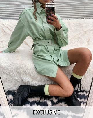 Collusion belted shirt mini dress in green