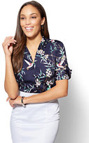 New York & Co. 7th Avenue - Madison Stretch Shirt - Navy - Bird Print