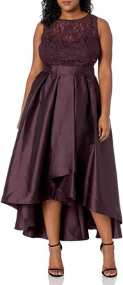 Ignite Women's Plus Size Sleeveless Lace Top with Pleated Hi-Lo Skirt Long Gown