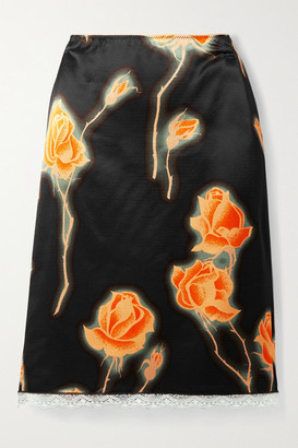 Meryll Rogge - Lace-trimmed Floral-print Satin Skirt - Black