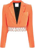 Area beaded-hem cropped jacket