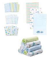 SpaSilk Blue Dino & Elephant Baby Cloth Set