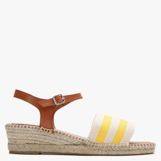 Carmen Saiz Yellow & White Canvas Nautical Low Wedge Espadrille Sandals