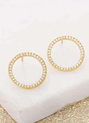 Mint Velvet Gold Circle Sparkle Studs