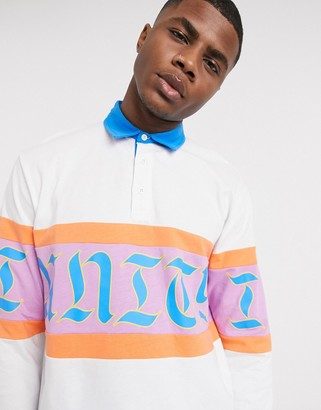 ASOS DESIGN x glaad unisex relaxed long sleeve rugby polo shirt with unity print