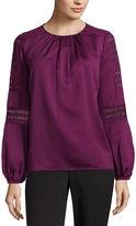 Liz Claiborne Midnight Garden Collection Long Sleeve Scoop Neck Woven Blouse