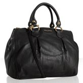 black pebble leather dual compartment large tote