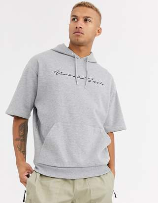 Asos Design DESIGN oversized short sleeve hoodie in grey marl with unrivalled supply text
