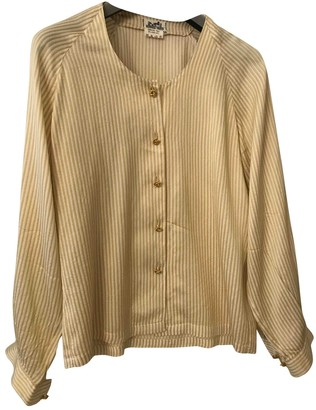 Hermes Beige Silk Top for Women Vintage