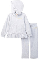Juicy Couture Ruffle Bottom Velour Hoodie & Pant Set (Little Girls)