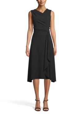 Anne Klein Asymmetrical Drape-Front Dress