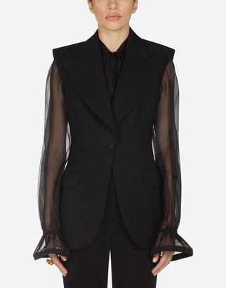 Dolce & Gabbana Single-Breasted Gilet Jacket In Technical Gabardine Fabric