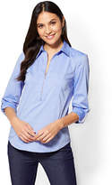 New York & Co. 7th Avenue - Popover Madison Stretch Shirt - Blue