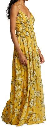 ML Monique Lhuillier Pleated Chiffon Maxi Dress