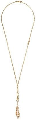 Annoushka 18kt yellow gold Mythology peapod seed diamond and pearl pendant necklace