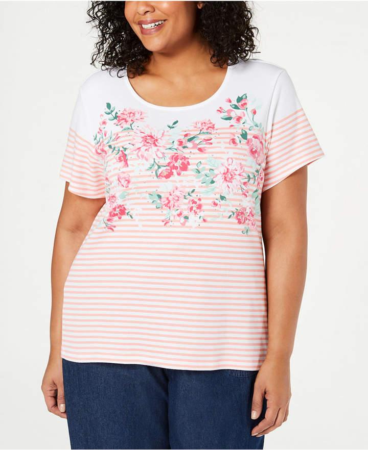 Karen Scott Plus Size Embellished Printed T-Shirt