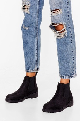 Nasty Gal Womens The Cleat of the Moment Faux Suede Chelsea Boots - Black - 3