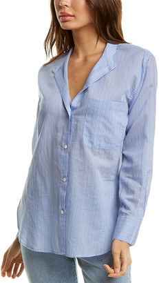 Vince Fine Stripe Silk-Blend Woven Shirt