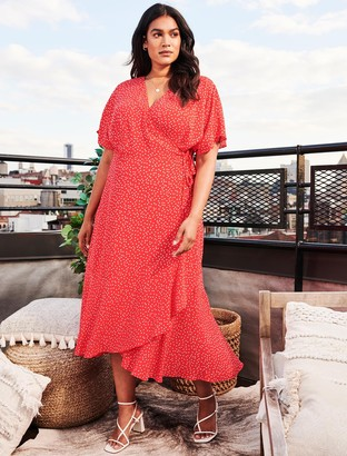 Forever New Clementine Curve Wrap Midi Dress - Scarlet Clustered Spot - 16