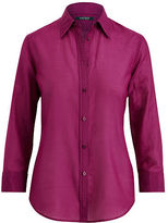 Ralph Lauren Petite Cotton-Silk Button-Down Shirt