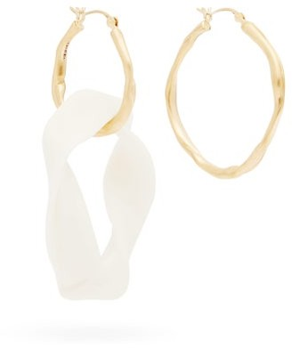 COMPLETEDWORKS Mismatched 18kt Gold-plated Hoop Earrings - White