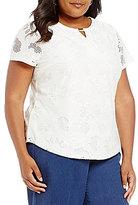 Allison Daley Plus Keyhole Eyelet Texture Jersey Cap Sleeve Top