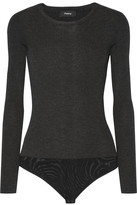 Theory Evian Ribbed Wool-blend Bodysuit - Charcoal