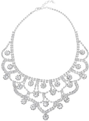 Simulated Crystal Scallop Bib Statement Necklace