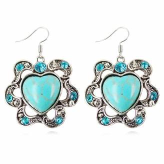 YONGHUI Retro Bohemian Turquoise Dangle Drop Earrings For Women Ladies Girls Summer Beach Earring Jewellery (Style B)