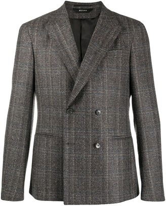 Ermenegildo Zegna Check Double-Breasted Blazer