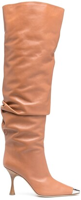 Sergio Rossi Metallic-Embellishments Knee-High Boots