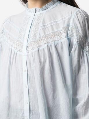 BA&SH Irene lace panel gathered blouse
