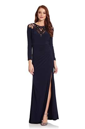 Adrianna Papell Womens Blue Jersey Gown With Sequin Yoke Dress - Blue