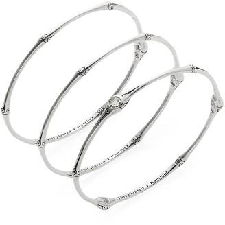 John Hardy Bamboo White Topaz Sterling Silver Bangle Bracelet Set