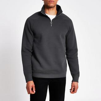 River Island Grey half zip slim fit sweatshirt
