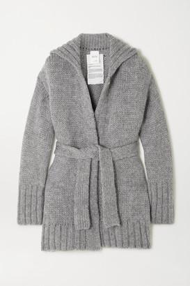 BITE Studios Net Sustain Belted Organic Wool And Alpaca-blend Cardigan - Gray