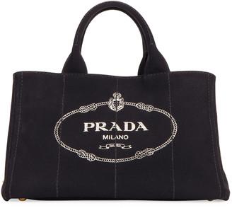 Prada Large Canvas Shopper Tote Bag