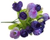 Willsa 15 Heads Artificial Rose Flowers Leaf Arrangements Bridal Home DIY Floor Garden Office Wedding Decor