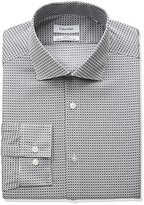 Calvin Klein Men's Non Iron Slim Fit Print Spread Collar Dress Shirt