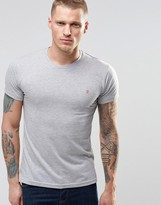 Farah T-Shirt With F Logo In Slim Fit In Gray Marl