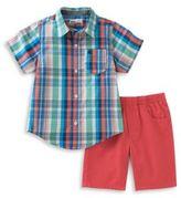 Kids Headquarters Plaid Sportshirt and Shorts Set