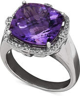 Macy's Amethyst (6 ct. t.w.) and Diamond (1/5 ct. t.w.) Ring in Sterling Silver