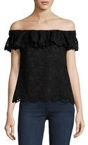 Rebecca Taylor Off-the-Shoulder Floral Lace Top, Black