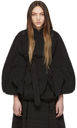 Simone Rocha Black Paper Cape Jacket