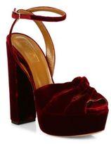 Aquazzura Mira Velvet Ankle-Strap Platform Sandals