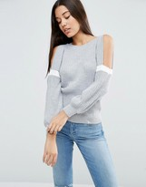 Asos Sweater With Cold Shoulder In Rib