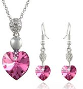 Dahlia Sparkling Oval Dangle Heart Swarovski Elements Crystal Rhodium Plated Necklace Earrings Set