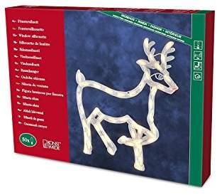 Konstsmide 2174-000 Window Silhouette Reindeer/for Indoor (IP20)/230V Inside/50 Replaceable Bulbs Cable, White